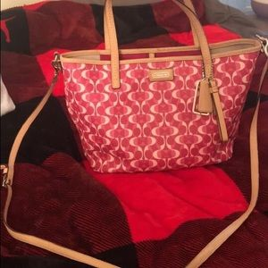 Pink Coach bag with nude straps
